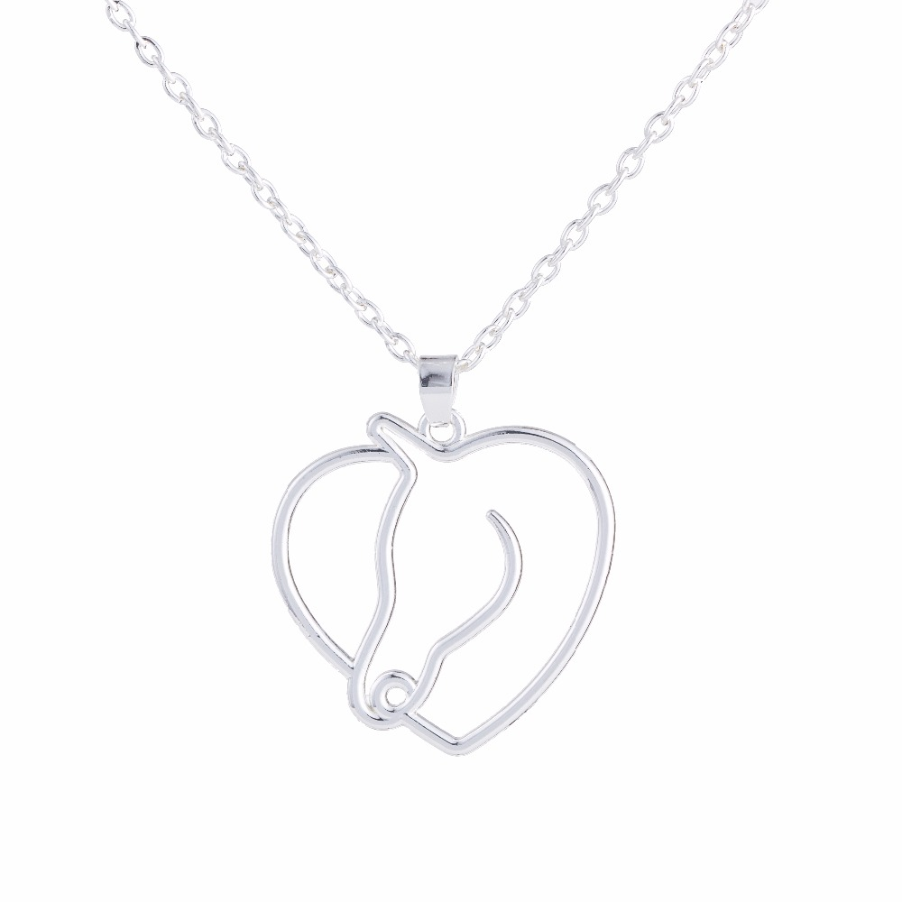 Minimal Cute Horse Head Heart Shape Pendant Lovely Animal With Link Chain Pendant Necklace 18''(China (Mainland))