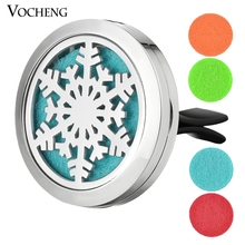 30mm Stainless Steel Car Air Freshener Perfume Essential Oil Diffuser Locket Jewelry Snowflake with Free Pads VA-510