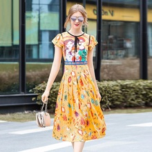 free shipping Summer dresses 2018 new High quality Cute Party Dress Fashion Trend Women Clothing Print Casual girl dress yellow(China)