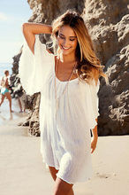 Women Sexy Beach Loose Off-shoulder Above knee mini Dress three quarter V-Neck Casual flare Sleeve Holiday wear Short Dress(China)
