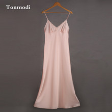 Female autumn and winter long nightgown lotus pink lace sleepwear lengthen silk nightgown spaghetti strap sexy sweet(China)