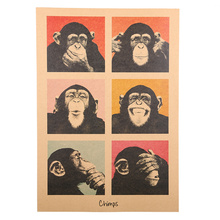1Pcs Vintage Poster Gorilla Adornment Bar Counter Retro Kraft Paper Posters Movie Poster Wall Stickers Home Decor(China)