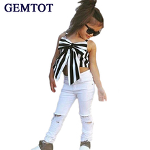 GEMTOT Girls Clothing Set 2017 Hot Summer  European Style Girls Set Stripes Tops+Fashion Hole Pants 2pcs Children's Suits