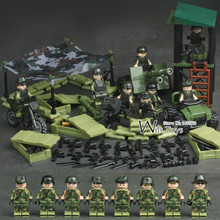 4 in 1 Jungle Special Force MILITARY Army WW2 SWAT Camouflage Soldier Navy Seals Team Mini Building Blocks Brick Figures Toy Boy