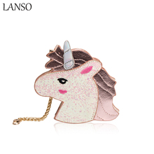 LANSO Cartoon Unicorn Bag Symphony Leather Wallets Hologram Purse The Harajuku Girl Heart Sister Horse Laser Retro Clutch Bags(China)