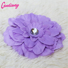 2017 Hot Sale Purple Big Flower Blooming Fabric Flower Brooch Hair Clip Boutique Headdress Hair Accessories For Bridal Wedding(China)