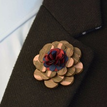 Mens Vintage Lapel Pin Brooch Pin Handmade Wood Flower Lapel Pin For Men Wedding Party Suit Decoration Boutonniere Corsage(China)