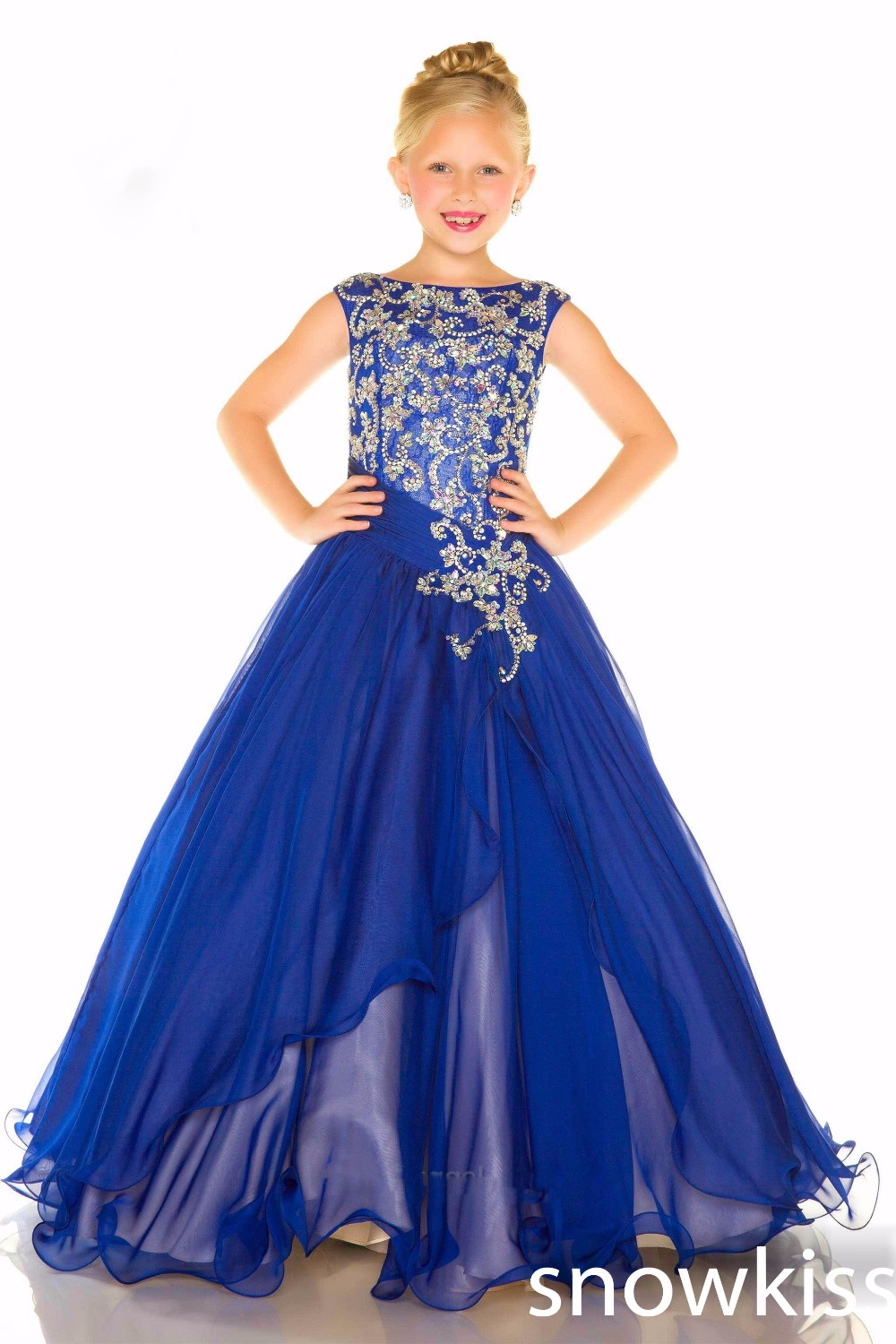 2016 new royal blue beaded crystals glitz little girls dresses charming A-line evening party prom gowns  pageant interview suits<br><br>Aliexpress