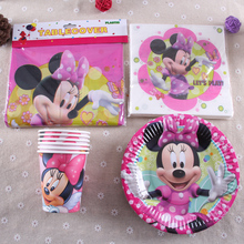 MK10,45pcs New Minnie Mouse Theme Party Luxury kids birthday decoration plates cups tablecover napkins party supplies