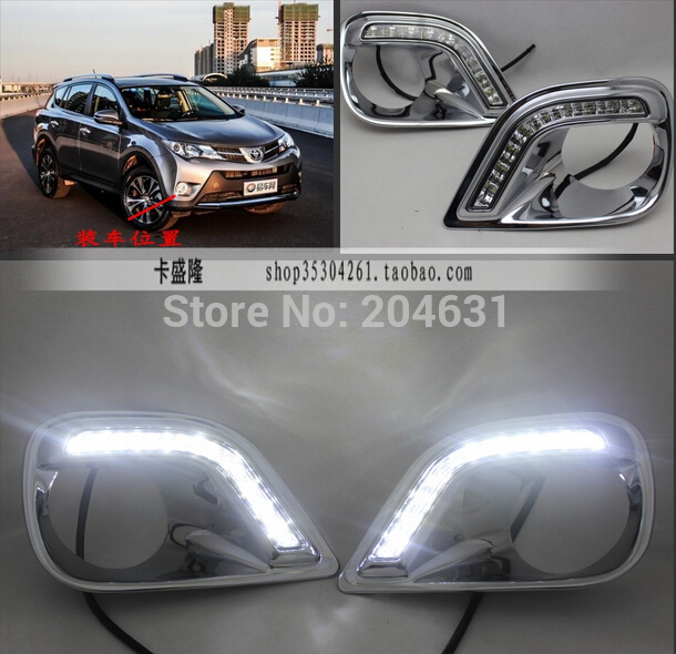 For Toyota RAV4 2013 2014 LED Daytime running light DRL front fog lights trim fast air free shipping<br><br>Aliexpress