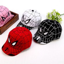 Foreign Trade Pattern Children Hats Cartoon Spider Chivalrous Girl Soft Edge Cap Sunscreen Baby Search Edge cotton Baseball cap