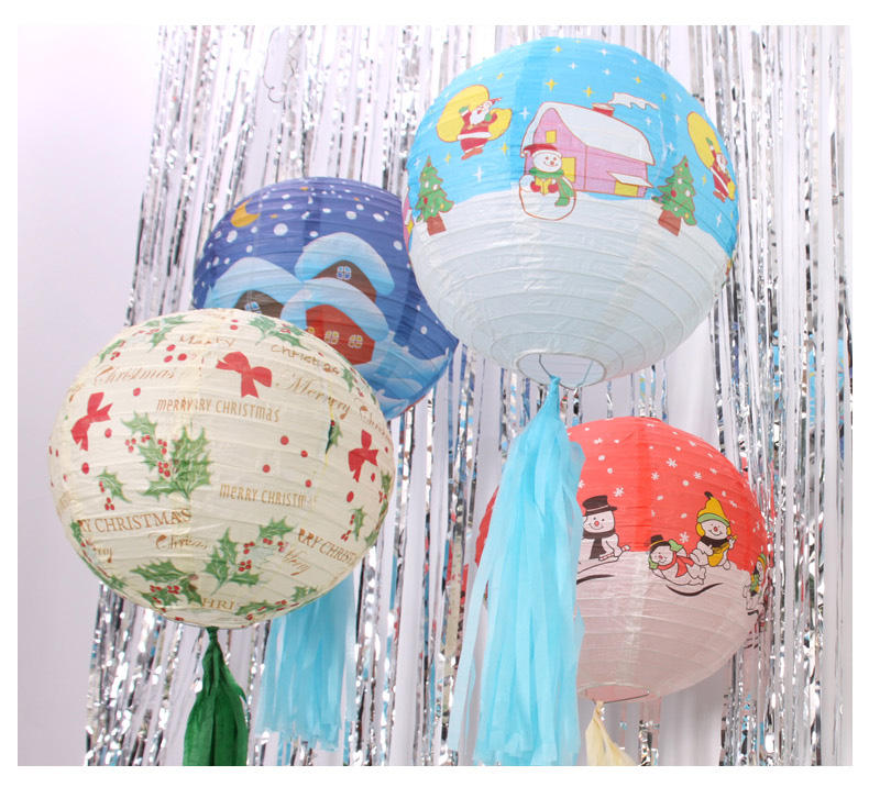 New 30cm 12 Styles Tissue Paper Lanterns Christmas Decoration Hanging Large Paper Balls Santa Claus,Snowman,Christmas Tree,Bells(China)