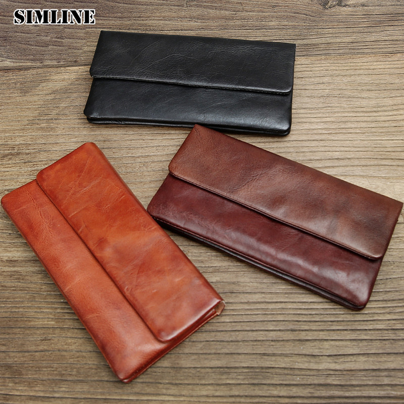 Brand Genuine Vegetable Tanned Leather Cowhide Men Wowen Long Wallet Wallets Purse Card Holder Clutch Bag Zipper Coin Pocket Man<br>