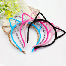 Stylish Women Girls Furry Cat Ears Headband Devil Cat Head Hoop Fine Hair Ornaments Hair Accessories Headwear Sexy Hair Band