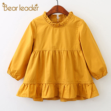 Bear Leader Girls Dress 2018 New Spring Brand Girls Clothes Long Sleeve Solid Ruffles Crew Neck Design Girls Children Clothing(China)