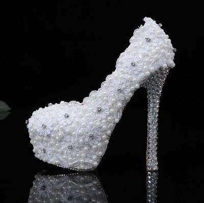 2016 Nicest LACE Pearl High heel wedding  shoes Diamond shoes  dress shoes    Slipper wedding shoes Bridal  Dress Shoes<br><br>Aliexpress