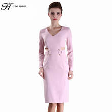 H Han Queen vintage Spring Fashion Sexy Formal Bodycon Dress Long Sleeve V-Neck Pencil Dresses Office Wear Women Work Clothes