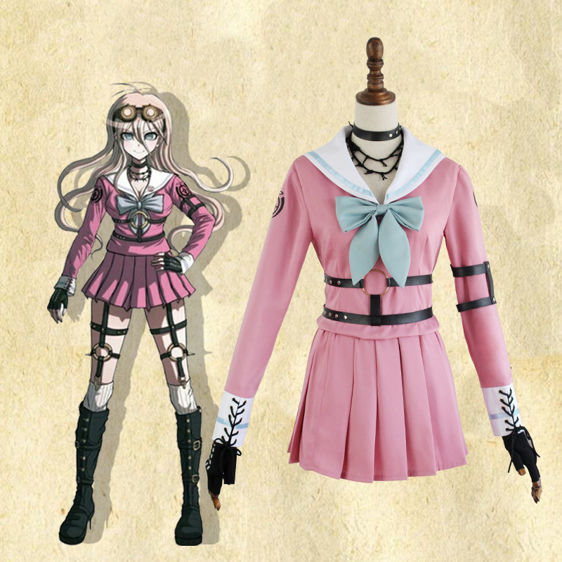 New Danganronpa V3 Killing Iruma miu Costume Japanese Game Uniform Suit Outfit Clothes Top skirts bow tie stockings