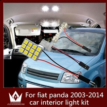 GuangDian 6PC auto led interior light vanity light glove bulb step lamp kit T10 festoon For Fiat Panda car accessories 2003-2014