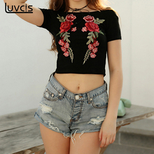 Luvcis Women 2017 New Style Summer Fashion T Shirts Embroidered Short Sleeve Round Neck Sexy Short T Shirt Casual Short Tops
