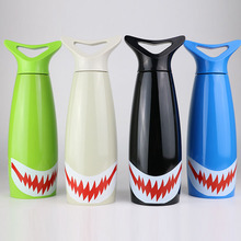 Fashion Stainless Steel Water Bottle Unisex Novelty Shark Vacuum Heat Preservation Sport Water Bottle(China)