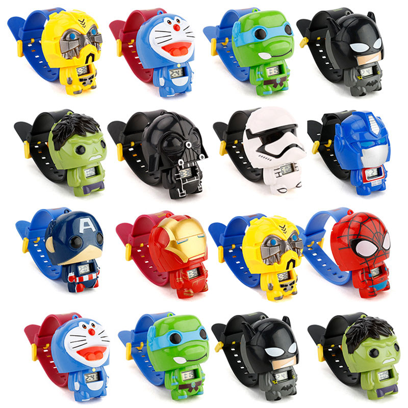 Children's Watch Telescopic Iron-Spiderman Girl Electronic Boys Student Cartoon for Kids title=