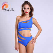 2016 Sexy One Piece Swimsuit Bandage For Women Solid White and Blue One shoulder Cut Out Monokini Swimwear Bathing Suit bodysuit(China)