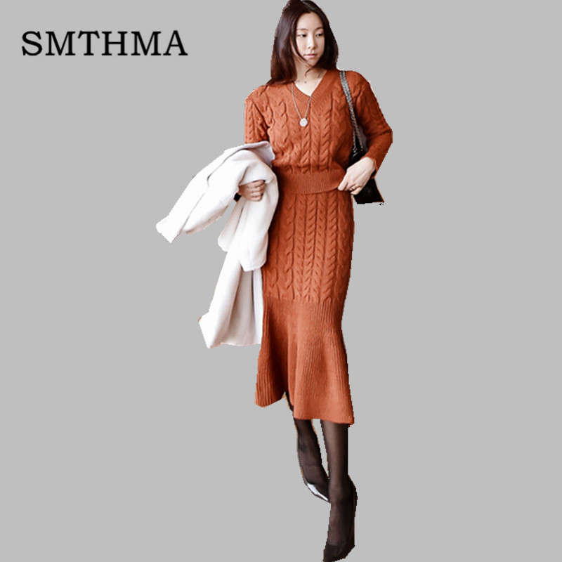 SMTHMA High Quality Winter Korean version two-piece set V-neck sweater + women hip fishtail skirt outfits