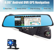 "Android  car dvr 6.86"" IPS touch screen wireless 3G camera 3G WCDMA B1 (2100) dual lens camera rearview mirror Gps navigation"
