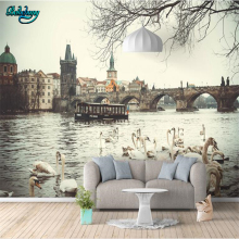 beibehang Custom Nonwovens Wallpaper Mural English Arch Bridge City Canal Lounge Sofa Background Wall