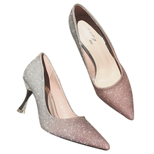 Korean version of the goddess pointed gradient sequins pointed high heels sexy wild shallow mouth with a single shoes trendy(China)