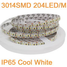 16.4FT/5M per Roll Super Bright 3014SMD 204led/m 1020LEDs DC12V  Flexible LED Strip IP65 Epoxy Waterproof White Color 12mm PCB