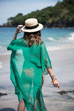 Beach Cover up Solid Swimwear Ladies Sarong Beach Cape Robe de Plage Plus Size Women Beachwear(China)