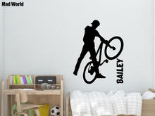 Mad World-PERSONALIZED BMX STUNT Man Wall Art Stickers Wall Decal Home DIY Decoration Removable Room Decor Wall Stickers()