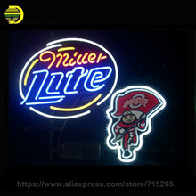 NEON SIGN For OHIO STATE BUCKEYES BRUTUS MILLER LITE Signboard REAL GLASS BEER BAR PUB display outdoor Light Signs 17*14""