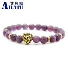 Ailatu Unisex Luxury Jewelry Wholesale 8mm Natural Purple Crystal Stone Beads Gold-Color Lion Head Energy Bracelet