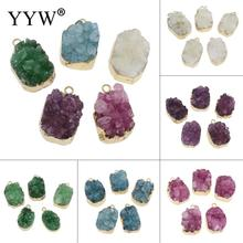 Ice Quartz Pendant gold color plated druzy style 2017 Wholesale Pendants & necklaces for making Jewelry fashion charm pendant