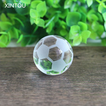 XINTOU Crystal Soccer Ball Model Ornaments 3 cm feng shui Mini Glass Football Stone Globe Balls Sale Home Decoration Kids Gift