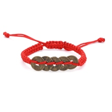 Lucky Red Rope String Chinese Antique Coin Handmade Shamballa Macrame Braided Bracelet Gift