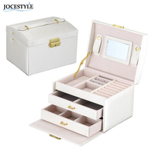 Brand New PU Leather Tri-Layer Dual Drawer Jewelry Storage Box Organizer Watch Earring Necklace Bracelet Nail Display