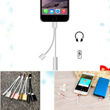 Hot Selling 2 in 1 Mobile Phone Charger Audio Adapter For iPhone 7 Plus Lighting to 3.5mm Aux USB Convertor Charging Cable BA319