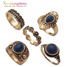 Yunkingdom New Vintage Ring Set Fashion Charms Ancient Antique Gold Color Rings Women Ladies jewelry  Ring Sets for Fingers