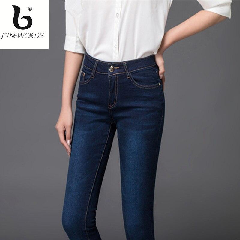 FINEWORDS  Newest  Design Working Elegant Skinny Jeans Woman Push Up Denim Hot Pant Plus size Dark Blue calca jeans femininaÎäåæäà è àêñåññóàðû<br><br>