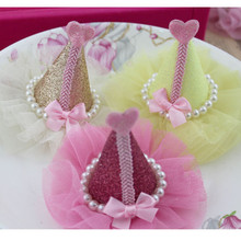 New Arrival!12pcs/lot 6colors 7.5*9cm HANDMADE CUTE GLITTER HAT suitable for  Girl Kids hair hat shoes DIY ornaments