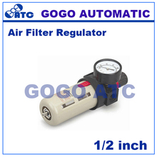 GOGO Airtac type pneumatic air filter+ pressure regulator BFR4000 1/2 inch with guage Cotton filter cartridge Manual drain(China)