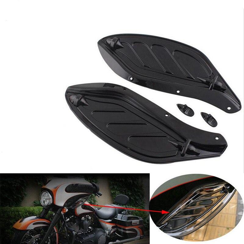 Black Adjustable Wing Air Deflectors Fairing Side For Harley Electra Street Glide Tri Glide EFI FLHXI 96-13<br>