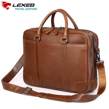 LEXEB Men's Leather Briefcases Best Qualtiy Men Double Zippers Open HandBag Laptop 15 Inch Brand With Two Main Bags Brown