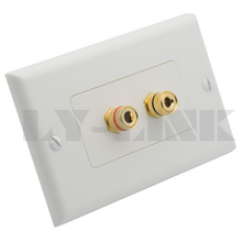 2 ports Home Theater Surround Sound sound box speaker banana wall plate with female to female connector