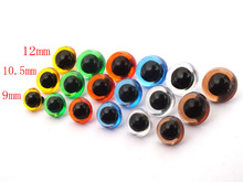 100pcsx 9mm/10.5mm/12mm Plastic Safety Eyes Sewing For toy mixed Color(China)
