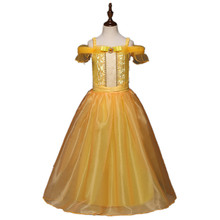 Belle Princess Dress Toddler Girls Summer Dresses Costume Party Clothing Beauty and the Beast Clothing Dress Clothes DS19(China)